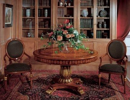 Tavoli Classici In Legno.Tavolo Rotondo In Legno Intarsiato Per Sale Da Pranzo