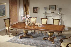 Art. 1258, Lussuoso tavolo con doppia base intagliata