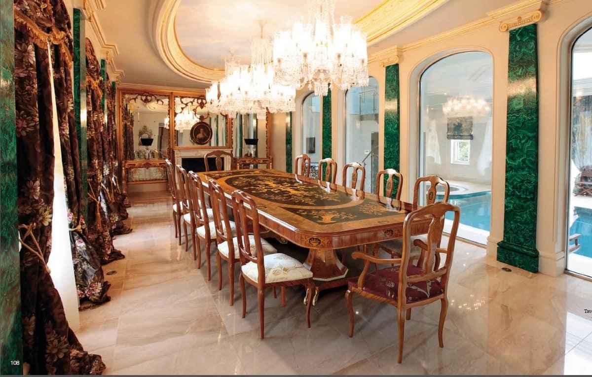 Lussuoso tavolo da pranzo con intarsio in palissandro for Tavolo da pranzo classico