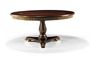 2573/T, Tavolo classico in legno con piano tondo