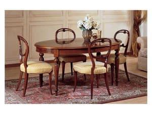 Art. 281 tavolo ovale '800 Francese, Tavolo ovale, stile classico di lusso, in legno lavorato