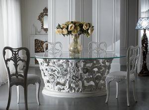 Art. 3051, Sfarzoso tavolo da pranzo, con piano in vetro
