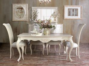 Art. 3066, Classico tavolo da pranzo, con intagli artigianali