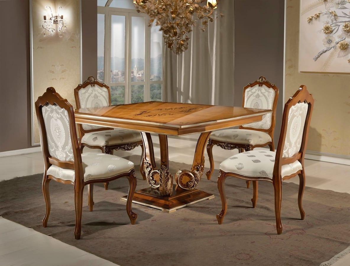 Tavoli Da Pranzo Classici : Tavolo da pranzo quadrato in stile classico idfdesign