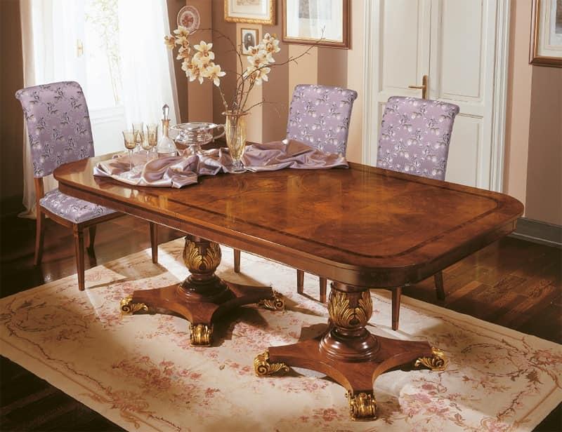 Art. 424/B, Tavolo di lusso allungabile con decori preziosi, intagliati a mano