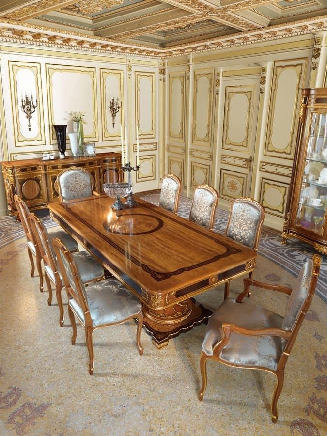tavolo rettangolare classico di lusso in legno intagliato