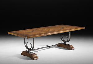 Art. 556-557 tavolo, Tavolo fratino, con lavorazioni in ferro battuto a mano