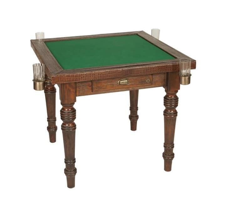 tavolo da gioco in legno rifinito in pelle di vitello