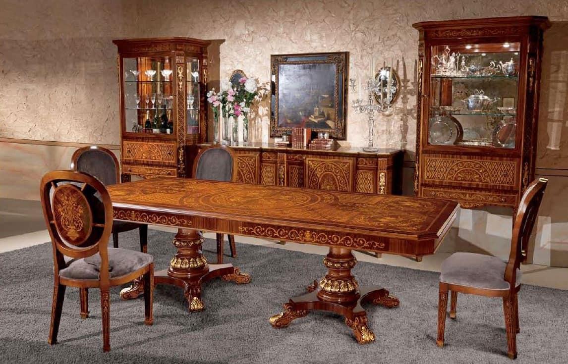 Tavolo rettangolare in legno, intarsiato, in stile classico  IDFdesign