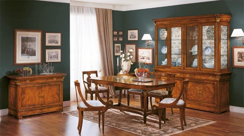 Tavolo classico da pranzo in legno intagliato made in for Tavoli sala da pranzo in legno