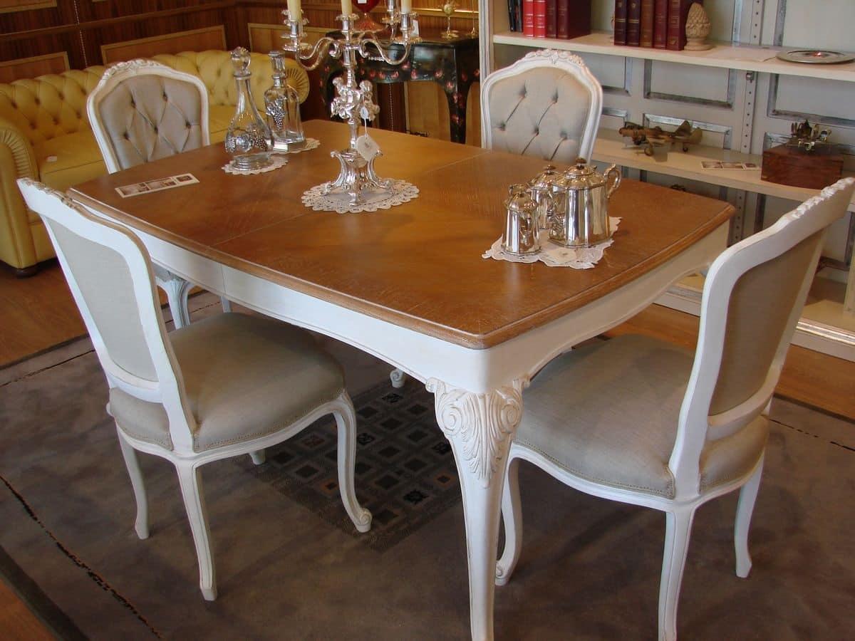 Tavolo con piano in rovere decapato per cucina classica for Tavoli da cucina design
