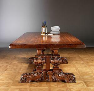 Art. 823 tavolo, Tavolo da pranzo con base intagliata a mano