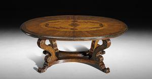 Art. 827 tavolo, Tavolo in stile rinascimentale, cop piano ovale allungabile