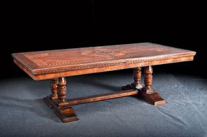 Art. 851 tavolo, Tavolo allungabile, con intarsio a motivo floreale