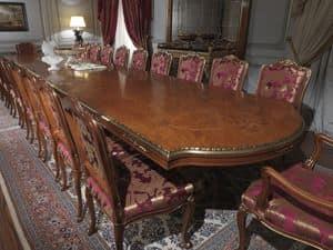 Art. 9090 tavolo, Tavolo in radica, piano intarsiato, stile classico di lusso per sale da pranzo