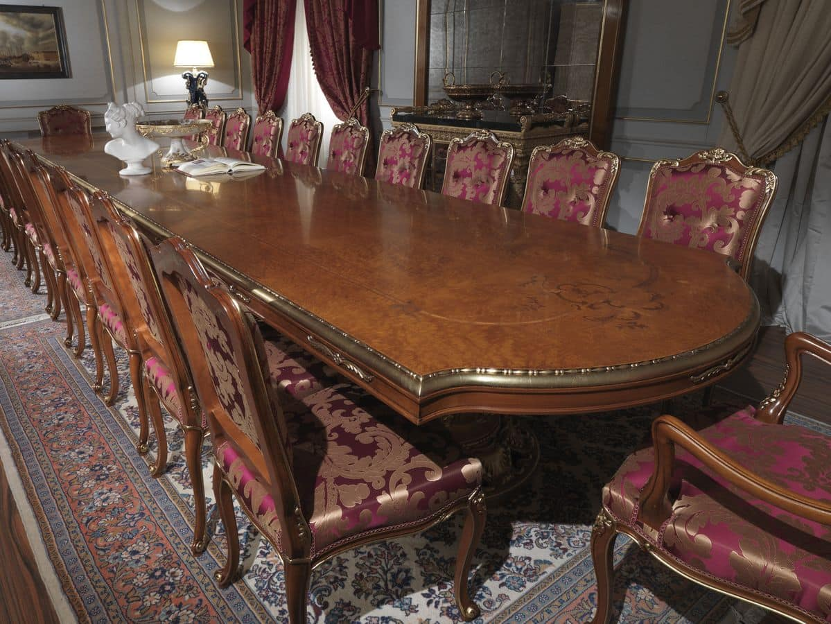 Tavolo in radica, piano intarsiato, stile classico di lusso per sale ...