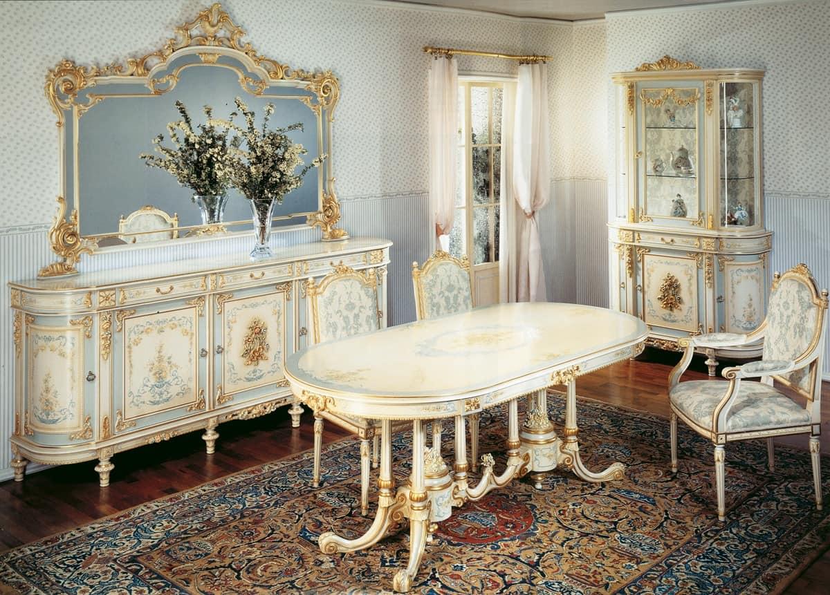 Tavolo ovale classico in legno lavorato a mano decori for Immagini di tavoli