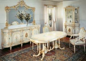 Art. L-1084, Tavolo ovale classico in legno lavorato a mano, decori foglia oro