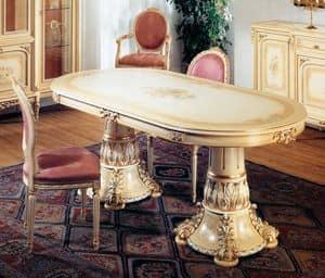 Art. L-790, Tavolo Ovale, laccato Avorio chiaro patinato, con particolari oro, decorato a mano