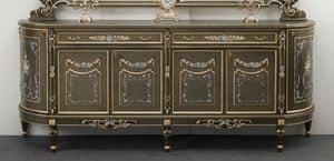 Art. L-921 K bis, Credenza in legno con 6 porte e 2 cassetti, decorazioni floreali dorate e argentate, in stile classico