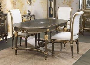 Art. L-922 K, Tavolo ovale,  laccato craquel� nero su fondo oro, in stile classico