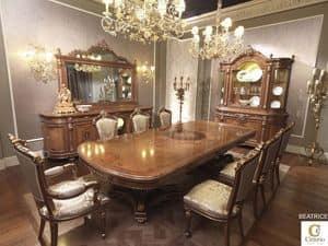 Beatrice, Sala da pranzo Luigi XV, tavolo legno massello intarsiato
