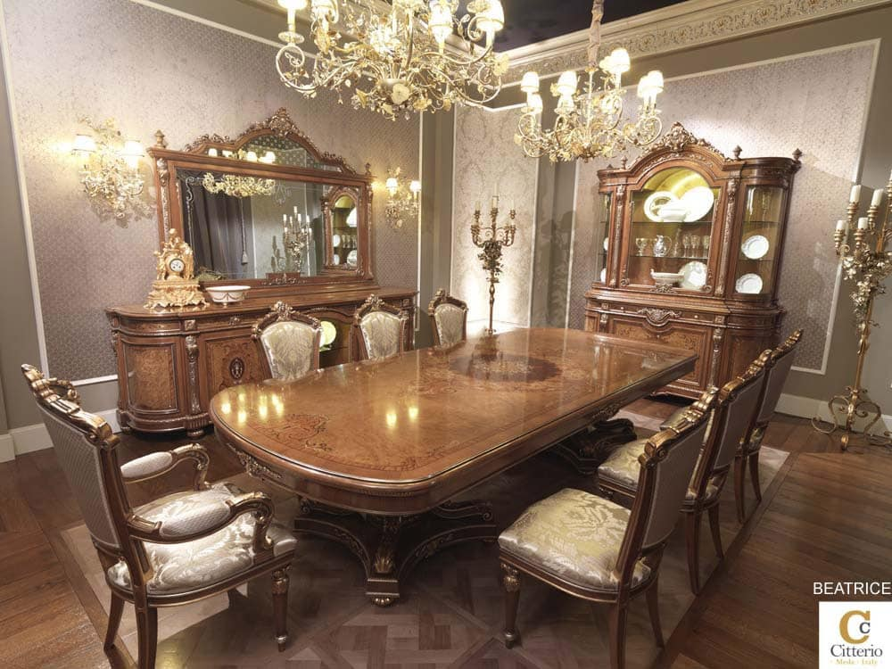 Sala da pranzo Luigi XV, tavolo legno massello intarsiato  IDFdesign