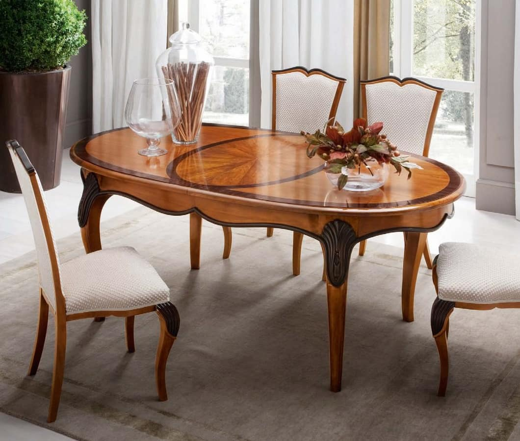 Tavolo ovale estensibile in legno intagliato a mano for Tavolo tondo estensibile