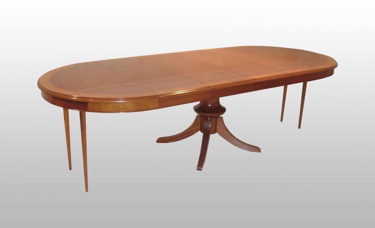 Tavolo tondo allungabile classico impiallacciato in mogano idfdesign - Tavolo rotondo con piede centrale ...