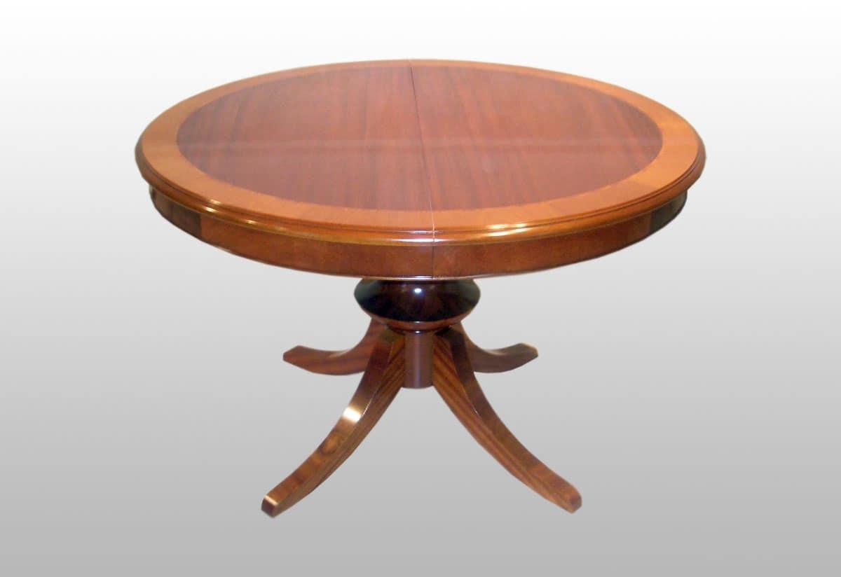 Tavolo tondo allungabile classico, impiallacciato in mogano  IDFdesign