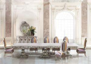 Calipso Diningroom, Tavolo rettangolare lungo per sala da pranzo classica