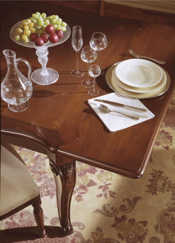 Canova tavolo quadrato, Tavolo quadrato allungabile, intarsiato e lucidato