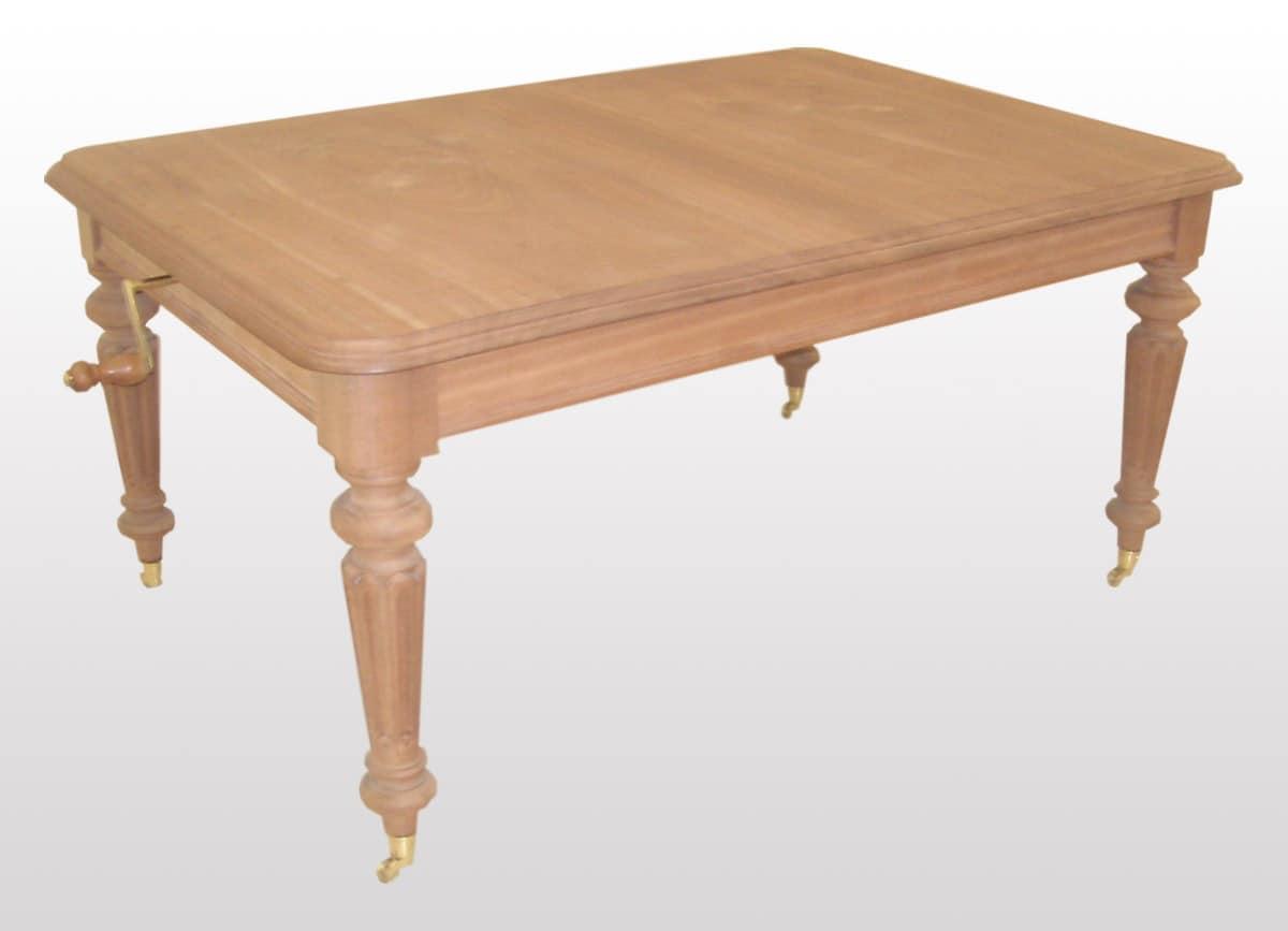 Tavolo classico allungabile rettangolare gambe tornite - Tavoli grezzi in legno ...
