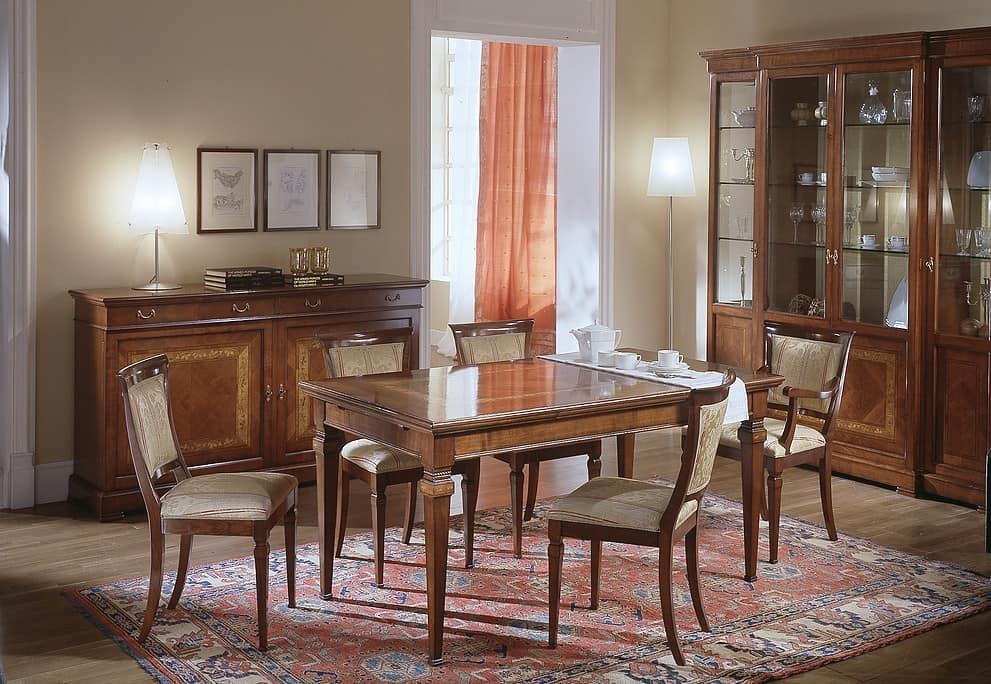 Tavolo allungabile in ciliegio con intarsio floreale - Tavoli da pranzo classici ...