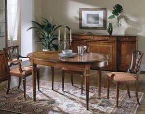 D 306, Tavolo ovale in ciliegio, allungabile, classico di lusso