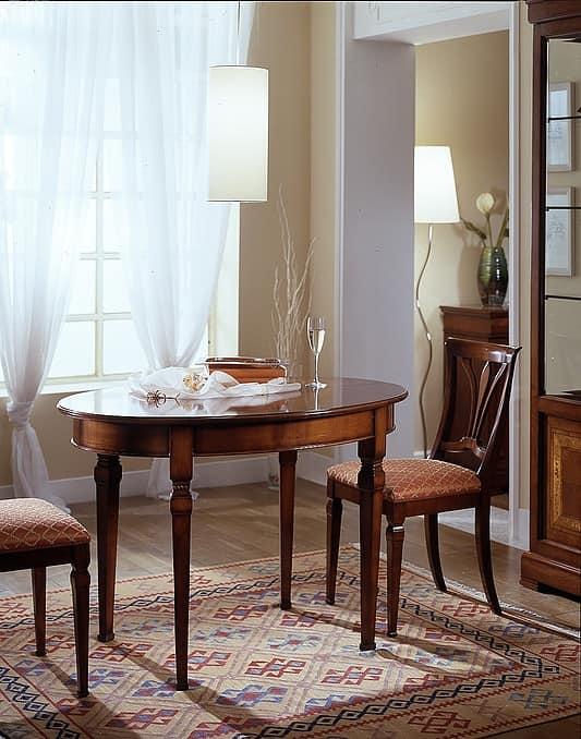 tavolo ovale in ciliegio allungabile con piano liscio idfdesign. Black Bedroom Furniture Sets. Home Design Ideas