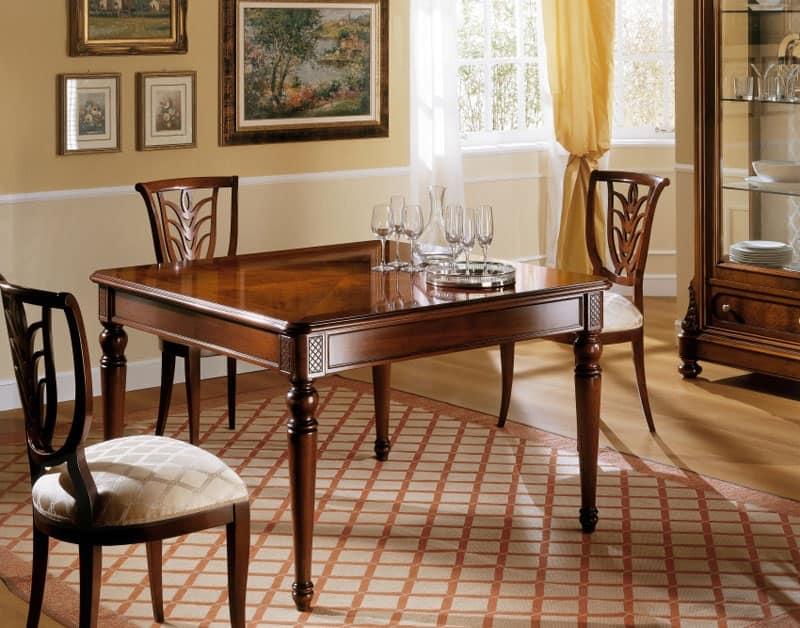 Tavolo allungabile in stile classico intagli fatti a mano idfdesign - Tavolo allungabile classico ...