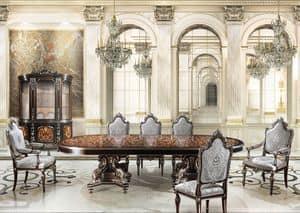 F981, Sala da pranzo con finiture in foglia argento, per Villa