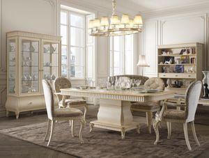Florentia tavolo, Tavolo da pranzo in legno per arredi classici