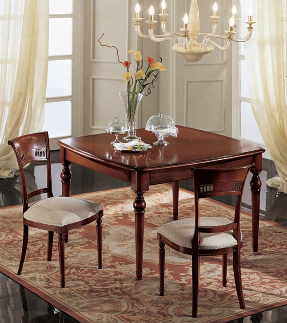 tavolo allungabile quadrato classico in noce massello