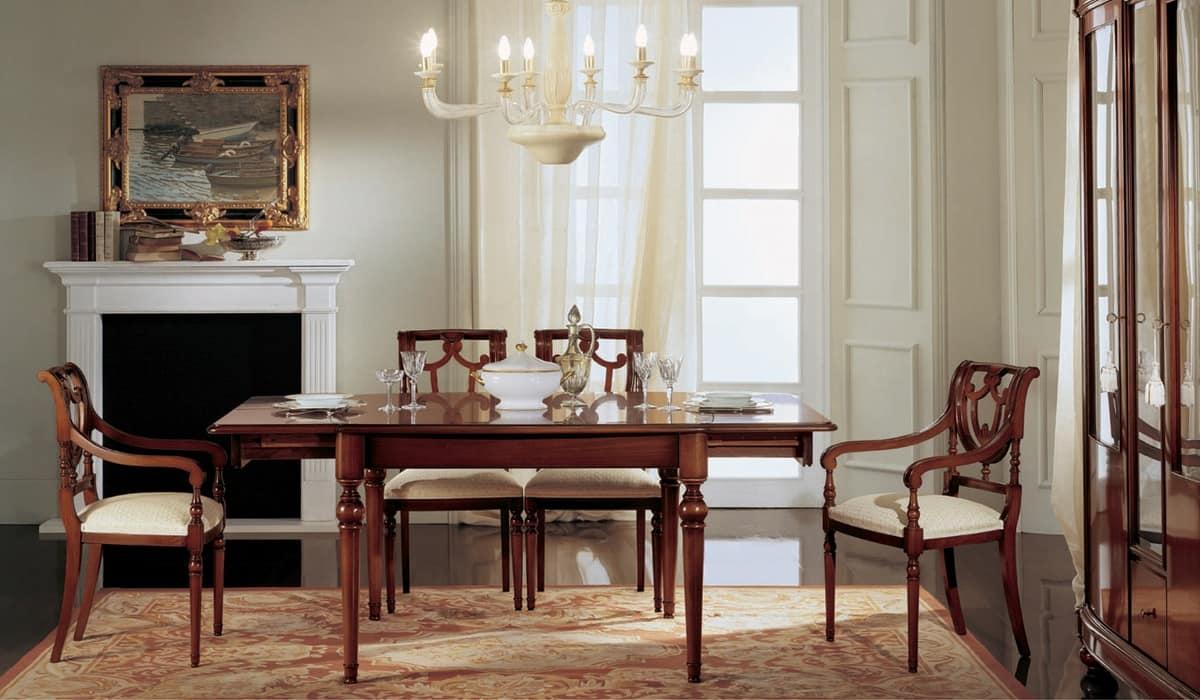 Tavolo allungabile quadrato, classico, in noce massello | IDFdesign