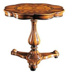 Gentilini RA.0685, Tavolo con fusto unico, per salotti classici di lusso