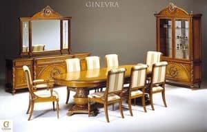Ginevra sala da pranzo, Sala da pranzo intagliata, sala da pranzo intarsiata
