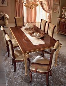 Giotto tavolo, Tavolo allungabile, gambe con luminose finiture dorate