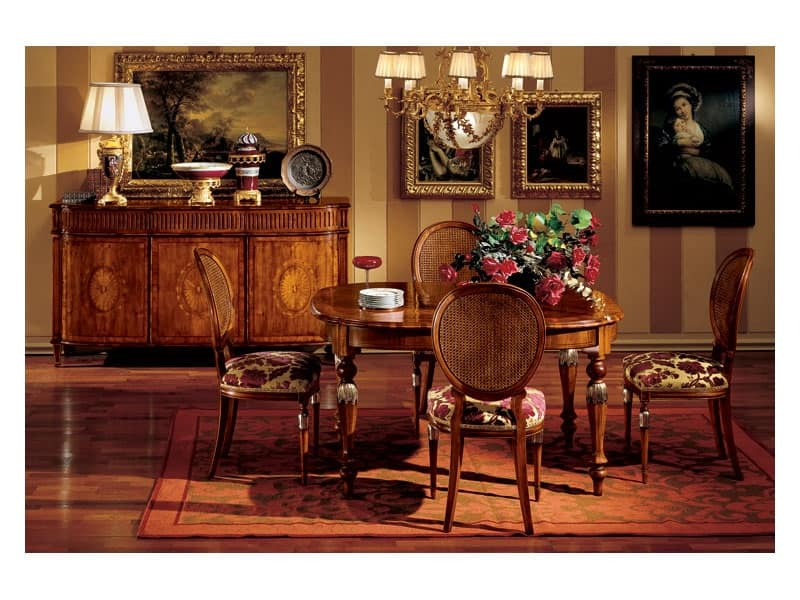 Tavolo classico di lusso in legno per sala da pranzo idfdesign - Mobili per sala da pranzo classici ...