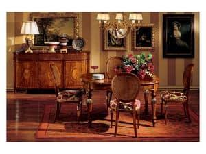 Hepplewhite tavolo 742, Tavolo classico di lusso in legno per sala da pranzo