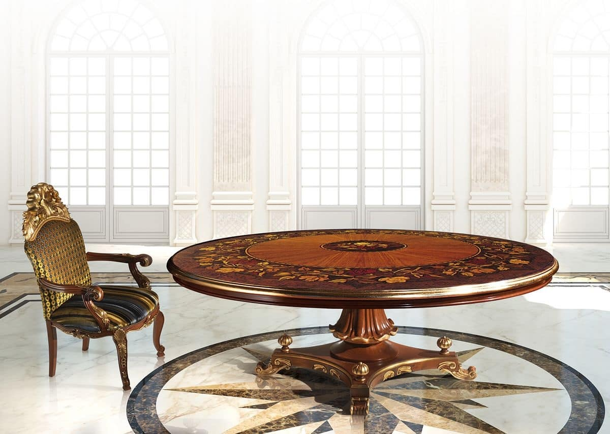 Tavolo classico di lusso con piano rotondo idfdesign for Amazon tavoli da pranzo