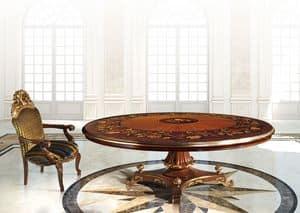 Hermitage ML/051/R, Tavolo classico di lusso con piano rotondo