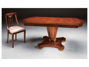 IMPERO / Tavolo da pranzo con base B, Tavolo da pranzo in legno di frassino, stile classico