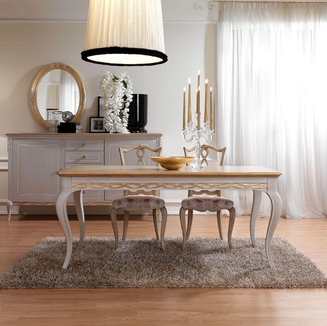 Tavolo da pranzo in legno decorato a mano in stile for Tavolo classico